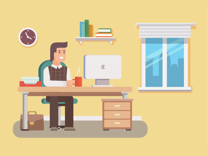 Office worker flat vector illustration - Training Manajemen Keuangan Yayasan