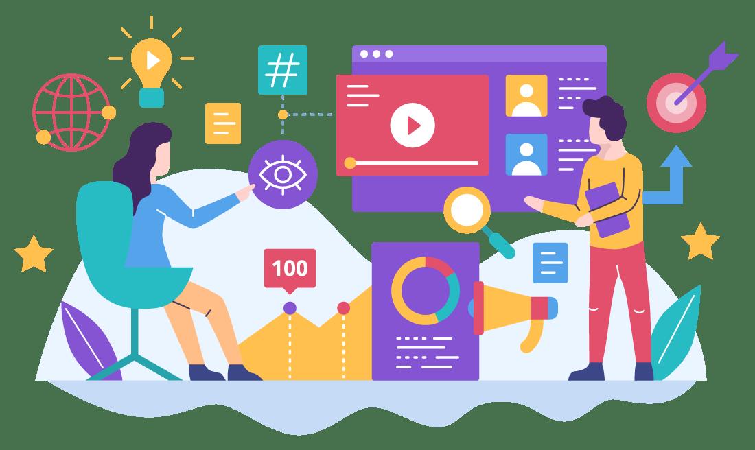 video marketing concept vector - Training Manajemen SDM Perusahaan